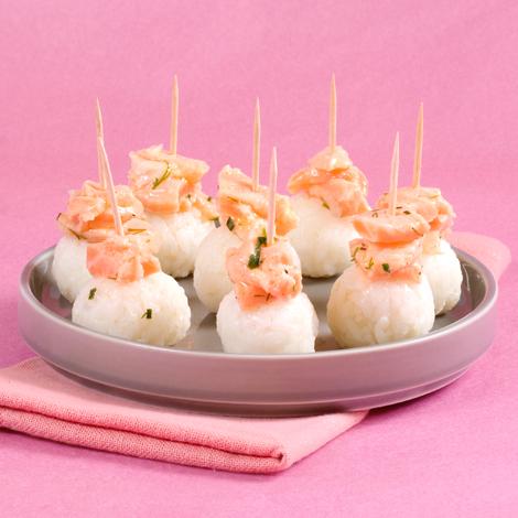 Bouchées de riz au saumon
