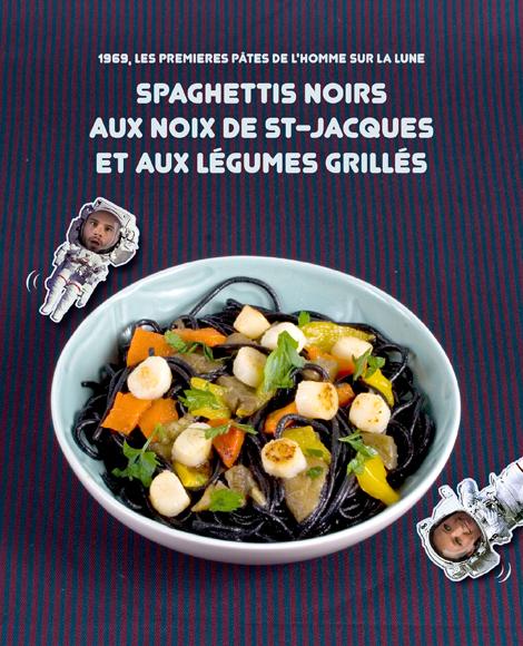 Spaghettis noirs aux legumes grilles et aux st jacques