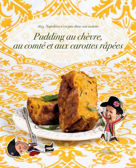 Pudding au chevre au comte et aux carottes rapees