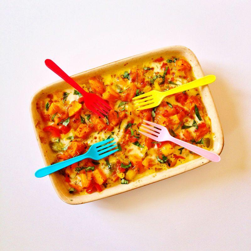 Gratin-potimarron-poivron-mozza-basilic