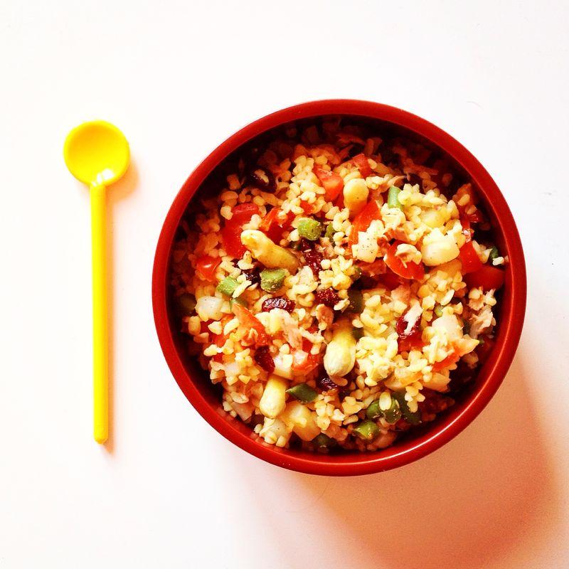 Salade-boulgour-asperges-thon-haricots-cranberries