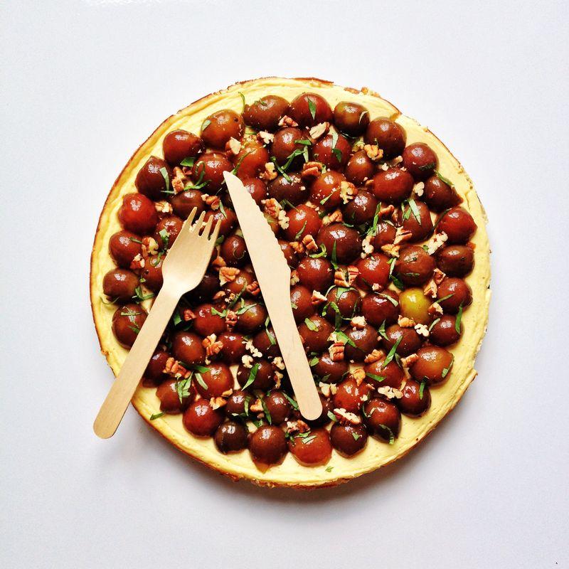 Cheesecake-mirabelles-noixdepecan-basilic
